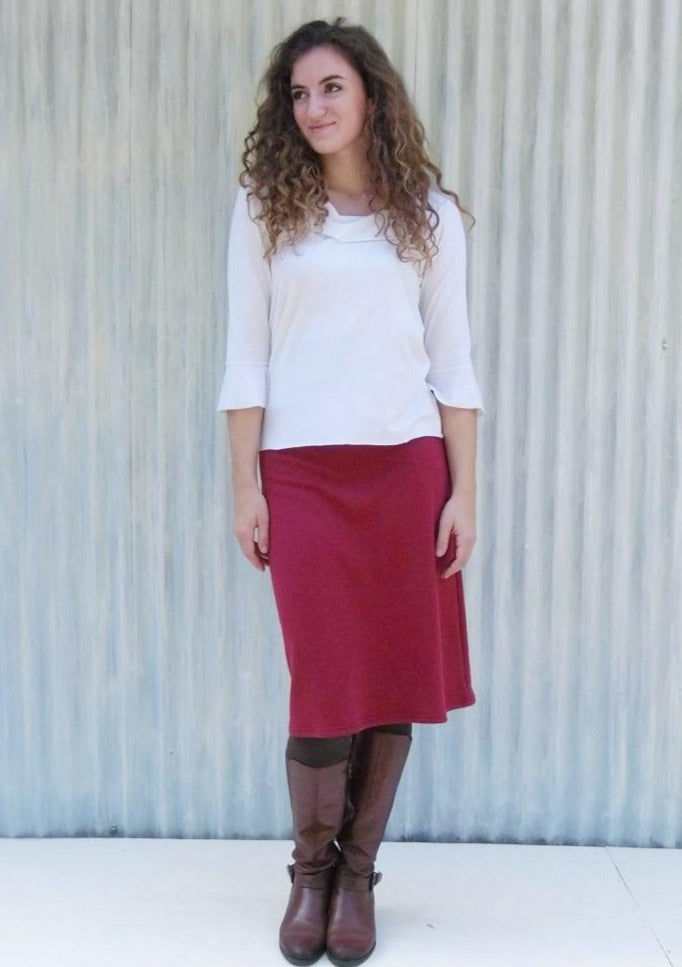 Hemp Fleece Mid-Length Pencil Skirt - Custom Made - Hilla Skirt - Yana Dee