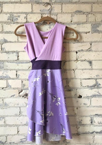 Juniors Organic Cotton Sateen Lavender Wrap Dress - Yana Dee