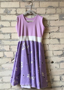 6-8 Year Lovely Lavender Organic Cotton Sateen Girls Dress - Handmade Organic Clothing
