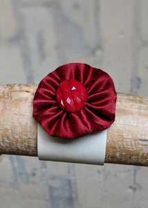 Salvaged Leather Cuff Bracelet with Pinwheel Flower - Handmade Organic Clothing