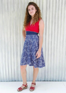 Red White & Blue Bird Print Wrap Dress - Ready to Ship - Chickadee Dress - Yana Dee