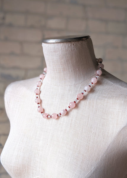 Rose Quartz Necklace with Clear & Ruby Spacers - Handmade Organic Clothing