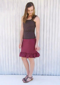 Short Hemp Pencil Skirt with Ruffle - Custom Made - Mary Skirt - Yana Dee