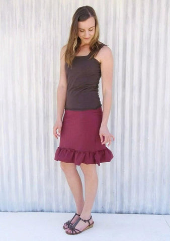 Short Hemp Pencil Skirt with Ruffle - Custom Made - Mary Skirt - Handmade Organic Clothing