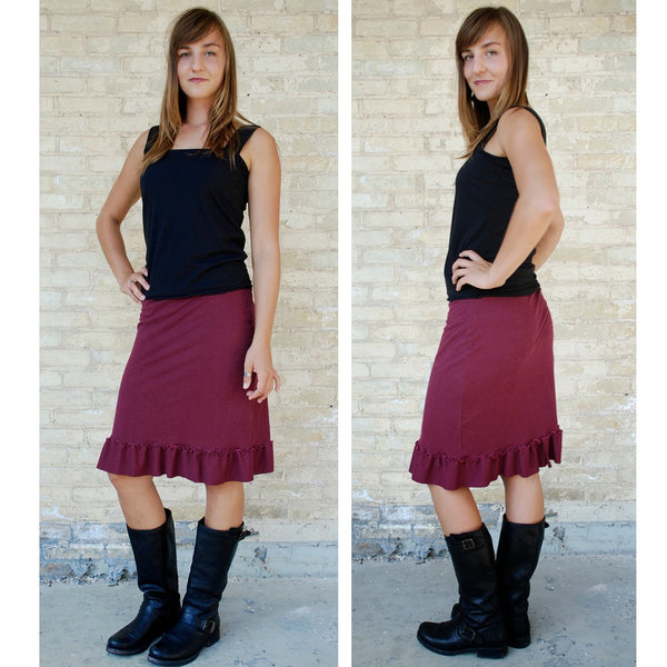 Hemp Midi Pencil Skirt with Ruffle - Custom Made - Marigold Skirt