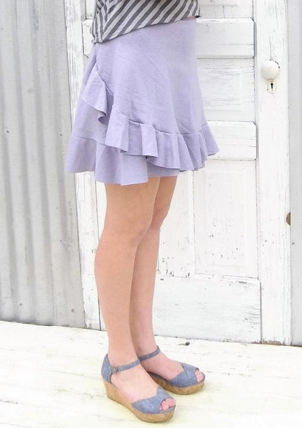 Custom Made Hemp Mini Wrap Skirt with Ruffle - Priscilla Skirt - Handmade Organic Clothing