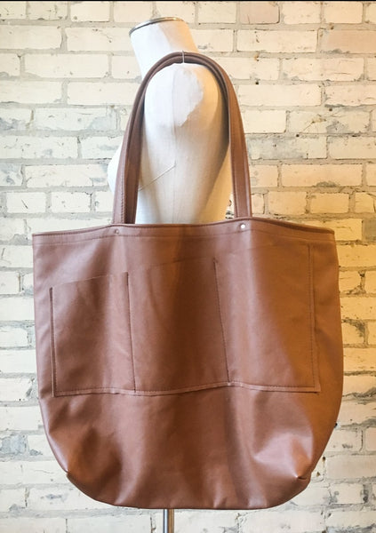 Lightweight Salvaged Leather Market Bag - Handmade Organic Clothing