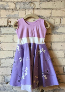 1-2 Year Organic Cotton Lovely Lavender Sateen Toddler Dress - Handmade Organic Clothing