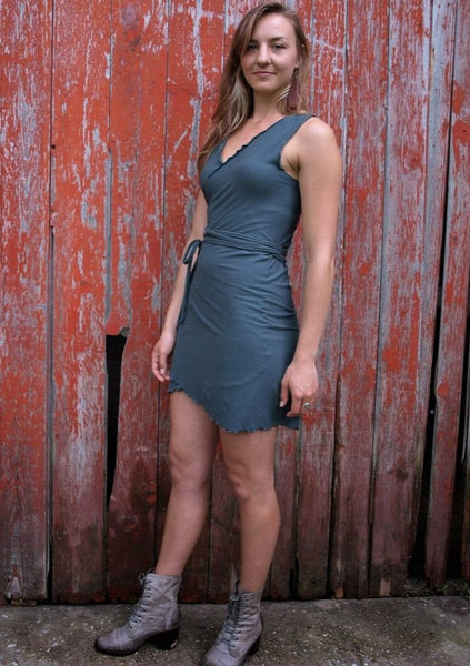 Organic Lightweight Jersey Sleeveless Mini Wrap Dress - Custom Made - Anita Dress - Handmade Organic Clothing
