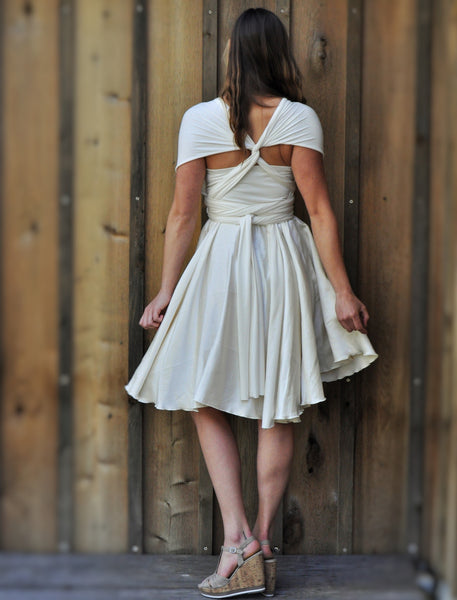 Mid Length Full Circle Silk Infinity Dress - Custom Made - Avita Dress - Handmade Organic Clothing