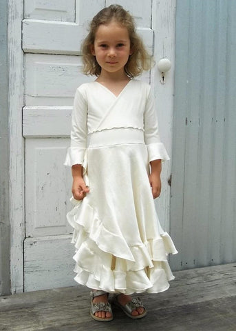 Double Ruffle Faux Wrap Silk Dress - Custom Made Eleanor Girls Dress - Yana Dee