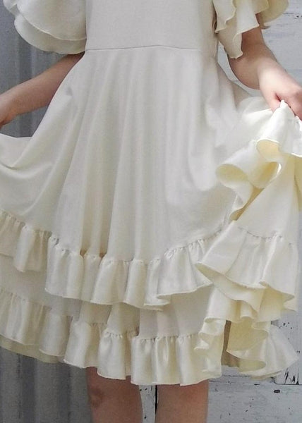 Flower Girl Double Layer Circle Dress with Silk Ruffles - Custom Made Charolette Girls Dress - Handmade Organic Clothing