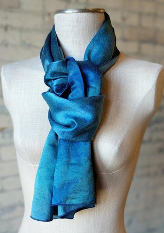 Hand Dyed Hemp Silk Scarf - Handmade Organic Clothing