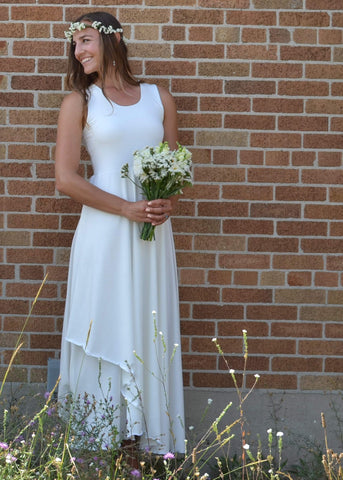 Sleeveless Mock Wrap Wedding Dress - Custom Made - Sasha Bridal Gown - Handmade Organic Clothing