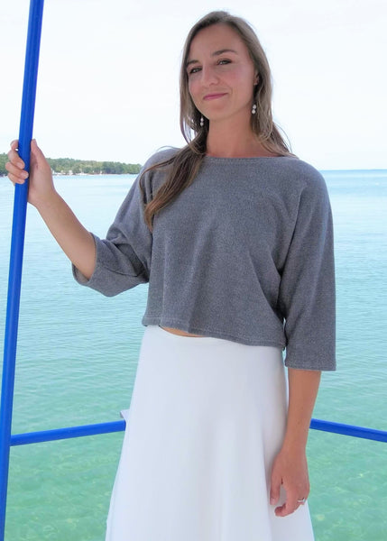 Bamboo and Organic Cotton Cropped Shrug - Ready to Ship - Alex Top - Handmade Organic Clothing