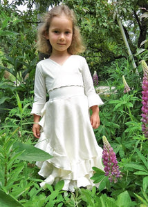 Double Ruffle Faux Wrap Silk Dress - Custom Made Eleanor Girls Dress - Handmade Organic Clothing