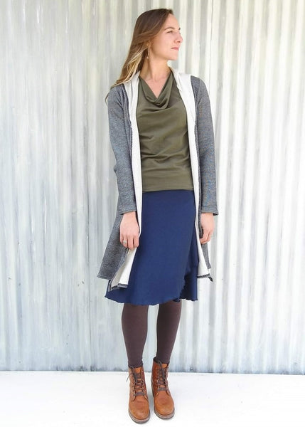 Organic French Terry Hooded Cardigan - Ready to Ship - Alexandra Pocket Duster - Handmade Organic Clothing