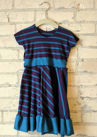 1-2 Year Purple and Blue Stripe Dress with Ruffle - Handmade Organic Clothing