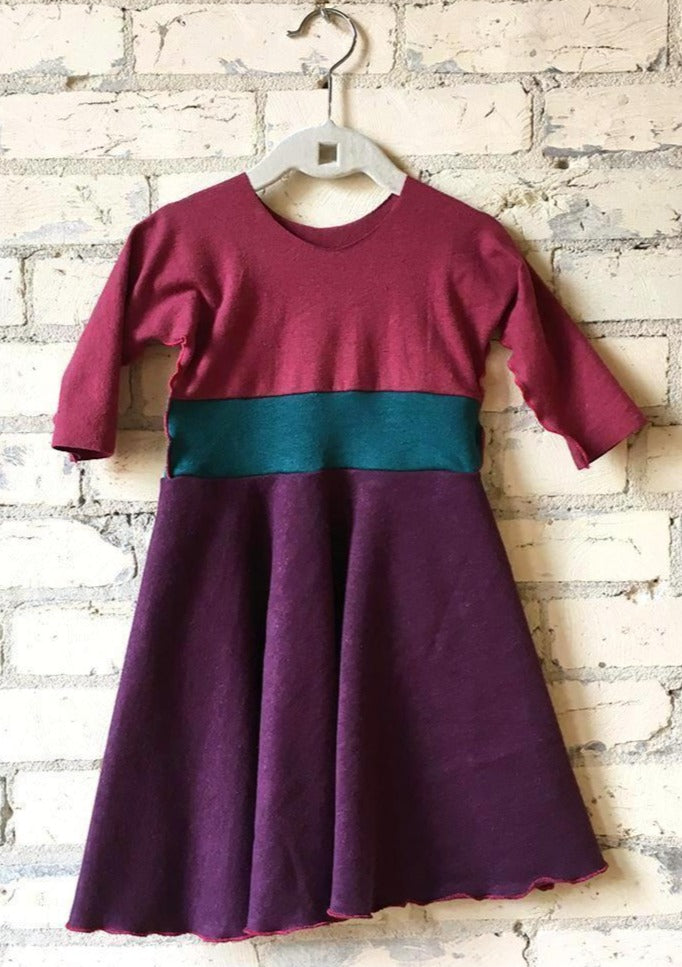 1-2 Year Purple & Pink Hemp Fall Winter Toddler Dress - Handmade Organic Clothing