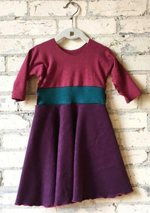 1-2 Year Purple & Pink Hemp Fall Winter Toddler Dress - Yana Dee