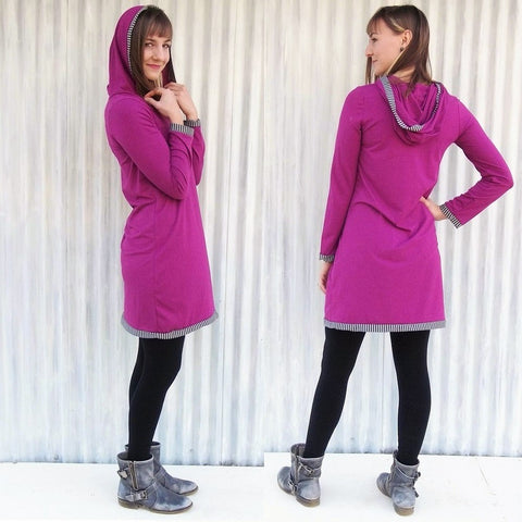 Organic Long Sleeve Hooded Tunic Dress with Stripe Detail - Custom Made - Laurel Tunic - Yana Dee