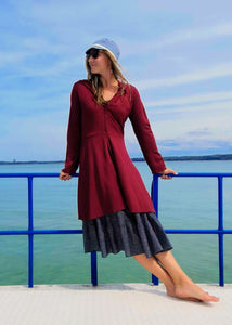 Custom Made Vegan Bamboo Fleece Valora Dress Coat - Handmade Organic Clothing