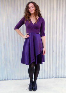 Mid Length Silk Wrap Dress with Sleeves - In stock - Handmade Organic Clothing