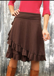 Hemp Faux Wrap Midi Skirt with Ruffle - Custom Made - Heron Skirt - Handmade Organic Clothing