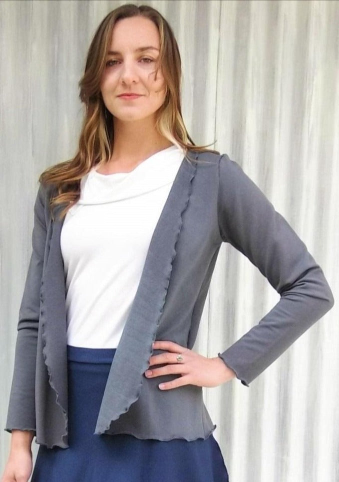 French Terry Long Sleeve Open Cardigan - Custom Made - Deanna Wrap - Handmade Organic Clothing