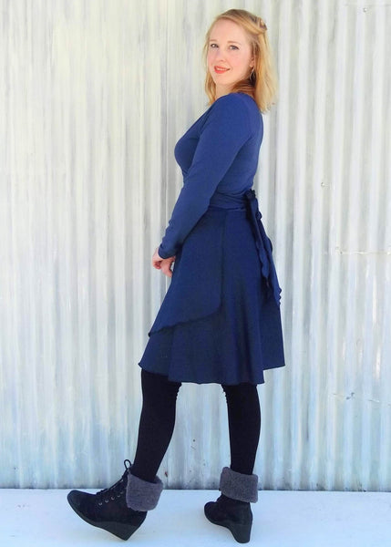 Bamboo Fleece Wrap Dress - Custom Made - Handmade Organic Clothing