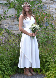 Custom Made Silk Wrap Wedding Dress - Custom Made - Vivian Bridal Gown