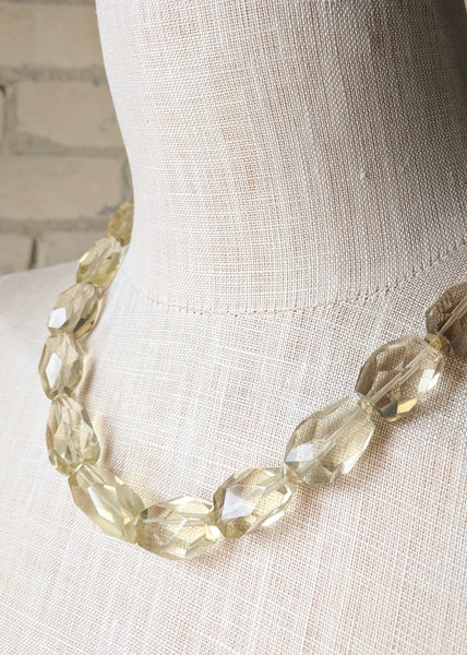Sparkling Clear Glass Necklace - Handmade Organic Clothing