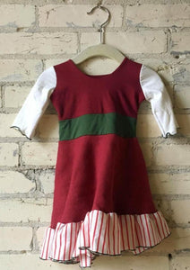 6-18 Month Christmas Elf Red White and Green Baby Dress - Handmade Organic Clothing