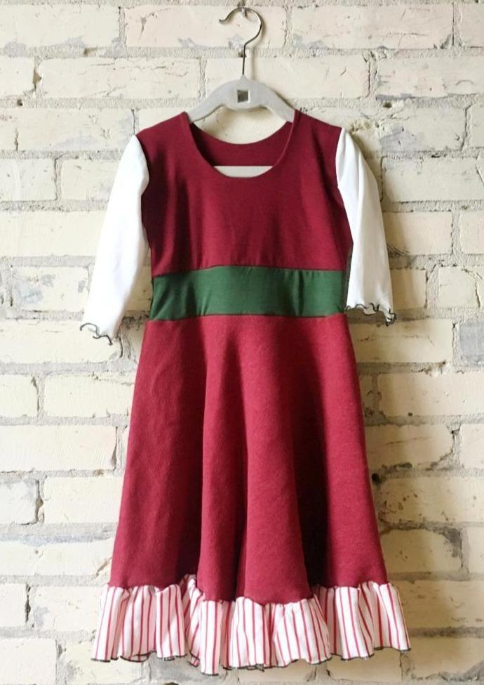 3-5 Year Christmas Elf Red White and Green Girls Dress - Handmade Organic Clothing