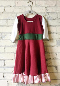 3-5 Year Christmas Elf Red White and Green Girls Dress - Yana Dee