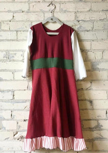 Juniors Christmas Elf Red White and Green Girls Dress - Handmade Organic Clothing