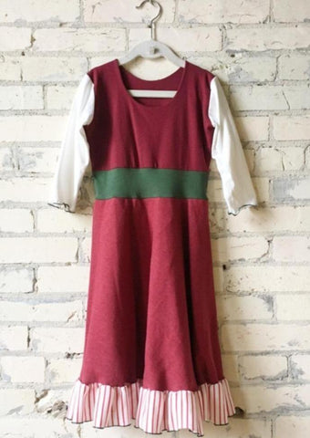 6-8 Year Christmas Elf Red White and Green Girls Dress - Handmade Organic Clothing