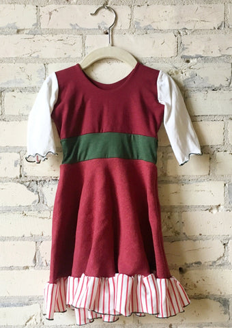 1-2 Year Christmas Elf Red White and Green Toddler Dress - Handmade Organic Clothing