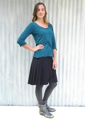 Lightweight Jersey Wrap Skirt - Ready to Ship Clover Skirt - Handmade Organic Clothing
