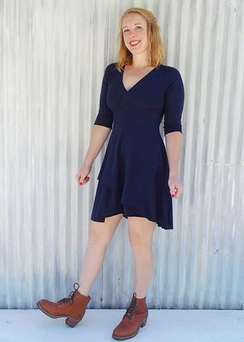 Hemp Stretch Wrap Dress with Sleeves - Ready to Ship - Fable Dress - Handmade Organic Clothing
