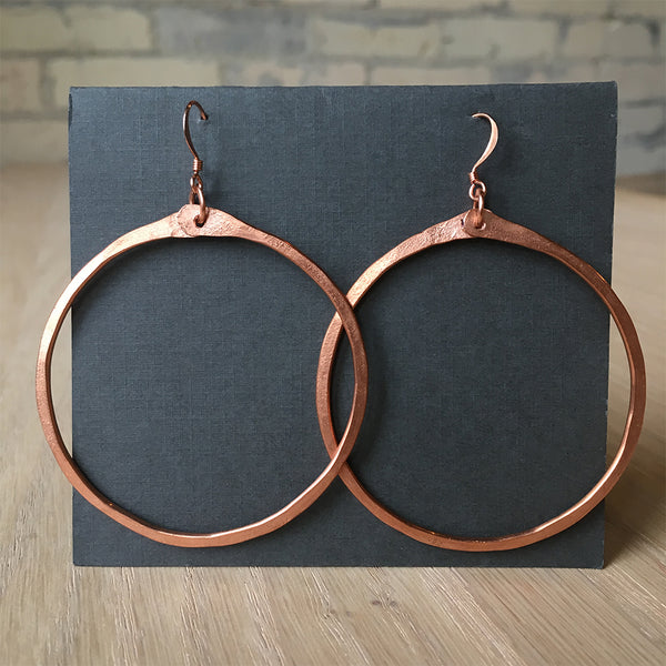 Salvaged Copper Hoop Earrings - Yana Dee