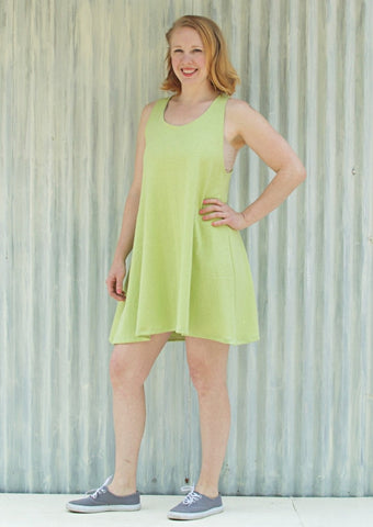Organic Cotton Hemp Jersey Racer Back Brianne Dress - Custom Made - Handmade Organic Clothing