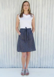 Mid Length Wrap Skirt with Pockets