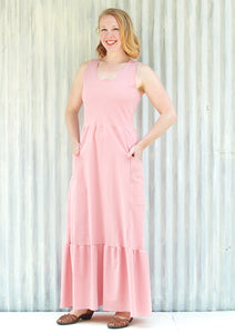 Organic Cotton Crepe Pocket Maxi Liliana Dress - Custom Made - Handmade Organic Clothing