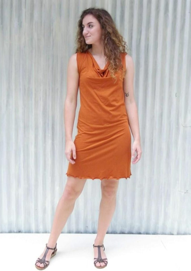 Organic Drape Neck Dress - Custom Made - Oralia Dress - Handmade Organic Clothing
