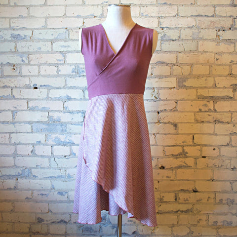 Mid Length Wrap Dress - Single Layer Dropped Bodice - Handmade Organic Clothing