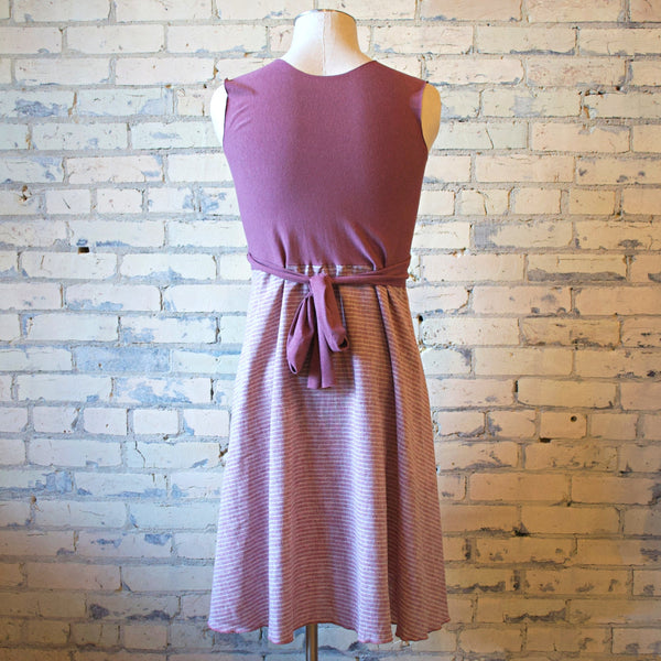Rose Ticking Hemp & Organic Cotton Wrap Dress - Handmade Organic Clothing