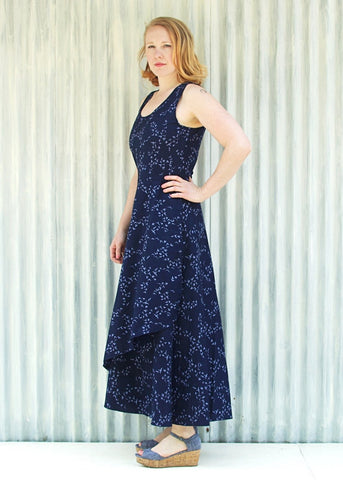 Organic Cotton Midnight Migration Bird Print Faux Wrap Maxi Tank Cecelia Dress - Custom Made - Handmade Organic Clothing