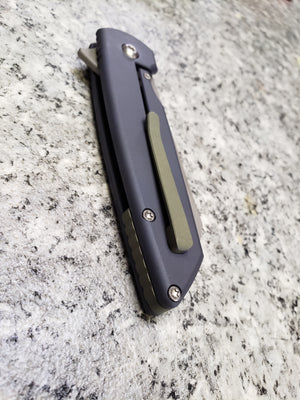 Model 2 Serial #008  CUSTOM ANODIZED BLUE HANDLES with OLIVE GREEN back spacer and pocket clip