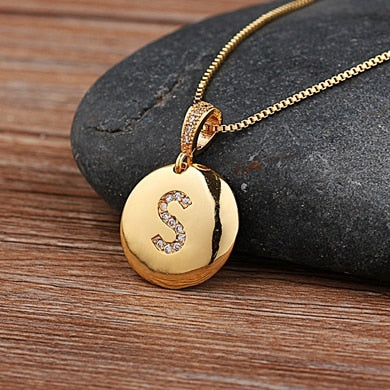 Letter Necklace Gold 26 Letters Charm Necklaces Pendants Copper CZ Jewelry Personalized Necklace - Limitless Jewellery